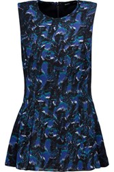 Proenza Schouler Pleated Printed Silk Chiffon Peplum Top Midnight Blue