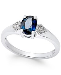 Macy's Sapphire 1 Ct. T.W. And Diamond Accent Ring In 14K White Gold