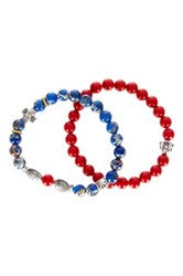 Jean Claude Buddha And Fish Accented Red Coral And Sea Sediment Bead Bracelet Set