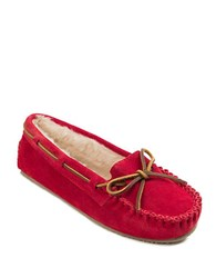 Minnetonka Cally Suede And Faux Fur Lined Moccasins Cherry Red
