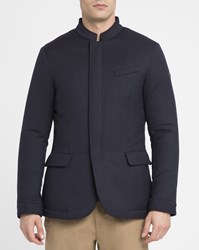 Armani Jeans Navy Feather Quilted Jacket Blue