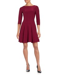 Gabby Skye Ribbed Fit And Flare Dress Garnet