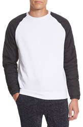 The Rail Crewneck Sweatshirt With Quilted Nylon Sleeves White Black Caviar