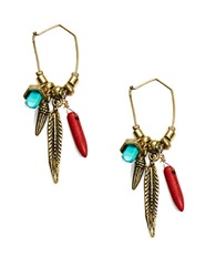 Robert Rose Stone And Charm Drop Earrings Multi