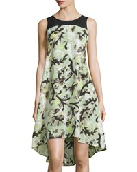 Nic Zoe Floral Vines Sleeveless High Low Dress Green Multi