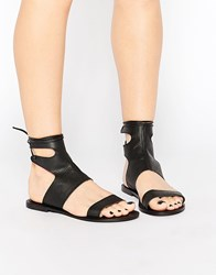 Asos Fountain Leather Lace Up Sandals Black
