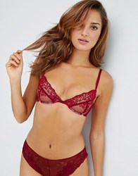 Asos Ria Basic Lace Mix And Match Plunge Bra Red