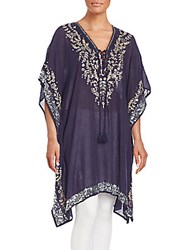 Saks Fifth Avenue Embroidered Sequined Tunic Navy