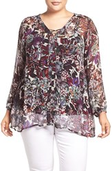 Lucky Brand Plus Size Women's Sheer Floral Print Lace Up Peasant Blouse