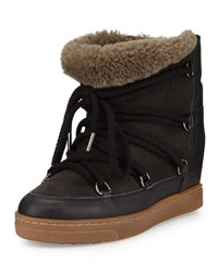 Isabel Marant Nowles Shearling Fur Lined Ankle Boot Black
