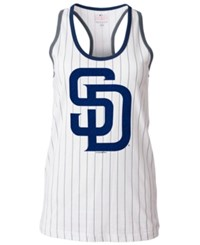 5Th And Ocean Women's San Diego Padres Pinstripe Glitter Tank Top White