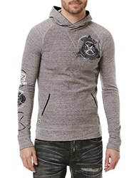 Buffalo David Bitton Kicont Graphic Print Heathered Hoodie Heathered Charcoal