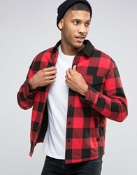 Esprit Quilted Check Jacket With Contrast Collar Red 630