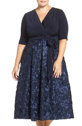 Alex Evenings Plus Size Women's Tea Length Jersey And Rosette Lace Dress Navy