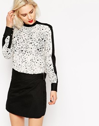 L.A.M.B. L.A.M.B Long Sleeve Dots And Sticks Print And Colourblock Dress Dotssticksblack