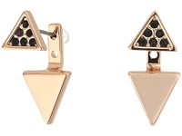 Rebecca Minkoff Two Part Triangle Earrings 16 Rose Gold Black Earring
