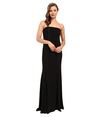 Adrianna Papell Strapless Cut Out Jersey Gown Black Women's Dress