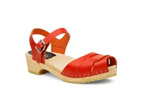 Swedish Hasbeens Peep Toe Low Sandals Red