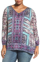 Lucky Brand Plus Size Women's Moroccan Border Print V Neck Blouse
