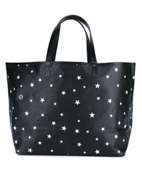 Uniform Experiment Star Print Leather Tote Bag Black White