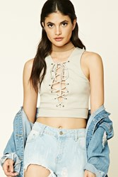 Forever 21 Lace Up Ribbed Knit Crop Top Taupe