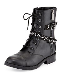 Elie Tahari Faux Leather Buckle Trim Moto Boot Black Youth Women's