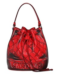 Moschino 3D Printed Leather Bucket Bag