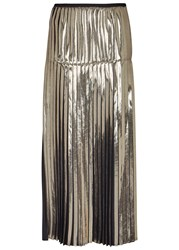 Stella Mccartney Black And Gold Pleated Foil Midi Skirt