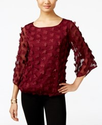 Eci Applique Blouson Top Burgundy