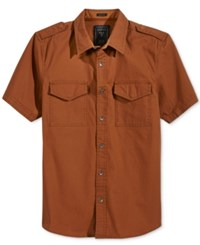 Guess Men's Conway Cotton Poplin Shirt Rich Rust Multi