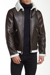 Members Only Fighter Pilot Faux Fur Lined Faux Leather Jacket Brown