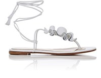 Gianvito Rossi Women's Ruffled Leather Thong Sandals White