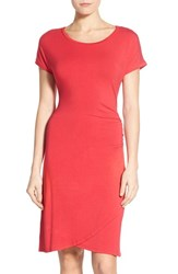 Petite Women's Caslon 'Growover' Jersey T Shirt Dress Red Barberry