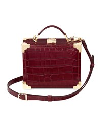Aspinal Of London Mini Trunk Clutch Unisex Burgundy