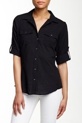 Sandra Ingrish Knit Side Roll Sleeve Button Down Shirt Black