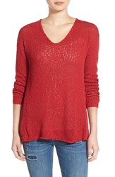 Junior Women's Bp. V Neck Pullover Sweater Red Beauty
