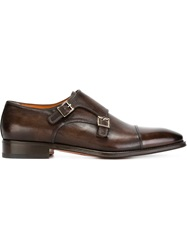 Santoni Almond Toe Monk Shoes Brown