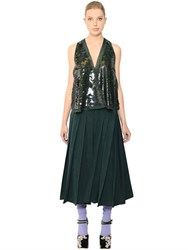 Rochas Sequin Embellished Pleated Faille Dress