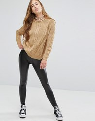 Pull And Bear Pullandbear Leather Look Legging Black