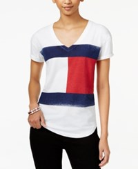 Tommy Hilfiger Flag Graphic T Shirt Bright White