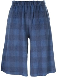 Maison Martin Margiela Mm6 Plaid Short Trousers Blue