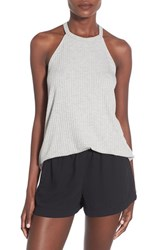 Women's Soprano Ribbed High Neck Tank Grey