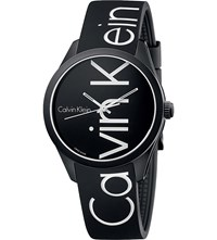 Calvin Klein Color Stainless Steel And Rubber Watch Black