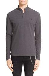 Men's The Kooples Pipe Trim Long Sleeve Band Collar Polo