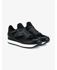 Dolce And Gabbana Leather Suede Running Sneakers Black Almond Denim