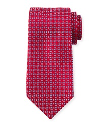 Charvet Floral Pattern Neat Cashmere Tie Red