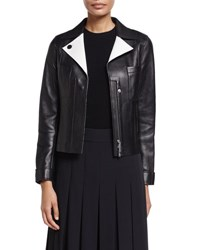 Grey Jason Wu Lambskin Leather Jacket W Contrast Facing Black Shell White Black Shell Whit