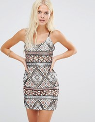 Wyldr Bad Habits Sequin Slip Dress Brown Multi