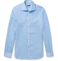 Isaia Slim Fit Slub Linen Shirt Blue