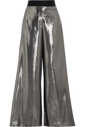 Opening Ceremony Alice Silk Blend Lame Wide Leg Pants Silver